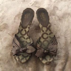 Coach cork bronze sandal, heels
